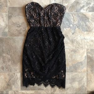 Nude & black lace dress